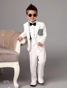 أبيض صبي دعوى سهرة سترة سروال قمصان القوس التعادل الاطفال الرسمي ارتداء 4 قطع حلقة حامل دعوى مجموعة