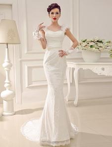 Vestido de novia con escote en corazón de cola larga  Milanoo