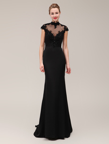 Vestido negro de noche con manga corta y escote alto Vestidos de boda para huéspedes Milanoo