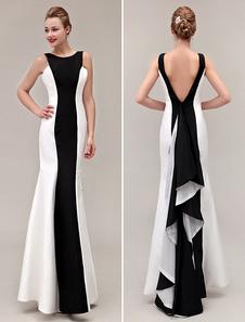 Vestidos de fiesta largos En stock Color bloque vestido 2020 V-Back sirena volantes tafetán vestido de fiesta