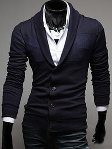 Cardigan de pescoço algodão xale com manga comprida em Regular Fit