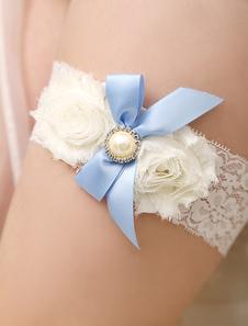 Renda marfim arcos flores casamento nupcial Jarreteira