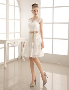 Vestidos De Noiva De Marfim 2020 Rendas Applique Faixa De Pescoço De V Faixa Vestido De Noiva Curto