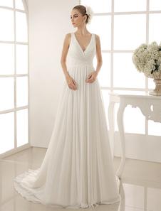 Vestido de novia de chifón marfil con cuello en V y cuentas de cola capilla