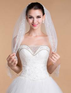 Двухуровневая с блестками Свадебная фата с ручной работы бисером