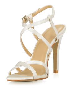 Sandálias de salto marfim da noiva com listras