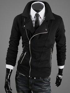 Мужская повседневная куртка Асимметричная вырезная молния с защелкой Snap с длинным рукавом с черным курткой