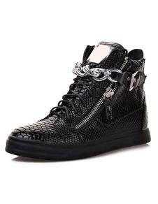 Sapatos de Skate preto 2020 Homens Dedo Do Pé Redondo Padrão Cobra Cadeia Detalhe High Top Sneakers