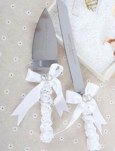 Faca de bolo personalizado & conjunto de servidor com fita para casamento