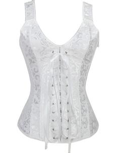 Pizzo bianco da sposa corsetto Overbust corsetti matrimonio