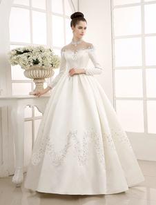 Vestido marfim casamento/vestido com gola alta Applique Milanoo