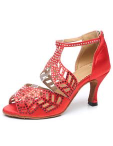 Sapatos De Dança 2020 Latina Vermelho Peep Toe Recorte Sapatos De Salão Sapatos De Dança