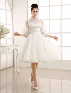 Vestido de noiva Vintage marfim com laço de pescoço jóia detalhando Milanoo