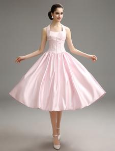 Pesca Prom abito Halter tè lunghezza Party Dress Bow Decor pizzo raso una linea di Homecoming Dress Milanoo