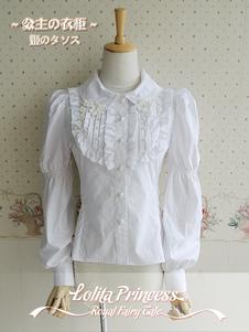 Белая блузка Lolita с рюшами Классическая рубашка с длинными рукавами