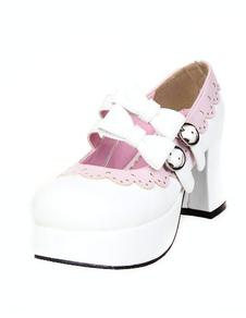 Branco fivelas sapatos Lolita