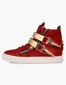 Sapatilhas Dos Homens Red Rodada Toe Detalhe Do Metal de Alta Top Sapatos de Skate Sapatos Casuais
