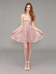 Vestido de baile querida lantejoulas rosa curto com costas abertas