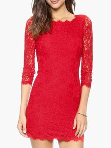 Abito da donna rosso vestito aderente Abito da sera corto a tre quarti