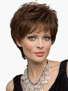 Льняные короткие вьющиеся человеческих волос парик