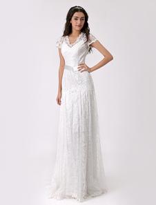 Из двух частей шифоновое свадебное платье с кружевной оверлея Milanoo