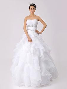 Vestido de novia de organza con escote en corazón y cuentas Milanoo