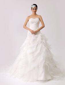 Trompete strapless vestido de noiva com babados hierárquicos Milanoo
