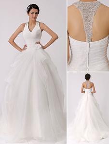 العاج الرسن الخامس الرقبة فستان الزفاف مع قطع التدريجي العودة ميلانو