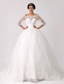 قبالة الكتف فستان الزفاف الدانتيل الأميرة مع الوهم العنق ميلانو