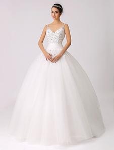 Vestido de casamento da princesa com apliques de laço frisado de cintas de espaguete Milanoo