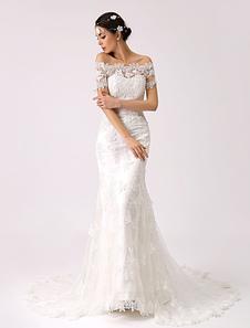Ретро вдохновили от плечо кружева Русалка свадебное платье Milanoo