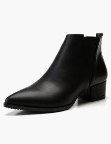 النساء تشيلسي أحذية سوداء أحذية الكاحل أسود أشار تو كعب مكتنزة الجوارب 2020