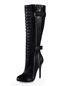 レディース靴 ハーフブーツ ブラック スティレットヒール 12cm