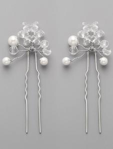 2 pcs cristais Handmade e pinos de cabelo nupcial de pérolas