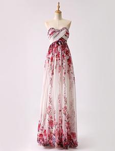Strapless longo impresso vestido de baile de volta do Chiffon aberto