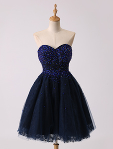 Breve Mini scuro della Marina Sweetheart Prom abito con corpetto di perline
