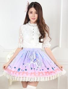 Vestido de Lolita Rosa lavanda saia doce Unicors estrelas impressão Lace Trim