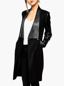 Cappotto lungo nero patchwork di PU con tacca colletto