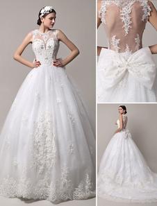 Purpurina pura volta capela trem vestido de noiva com corpete fortemente frisada Milanoo