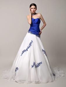 青いウェディング ドレス レース ビーズ恋人ウェディング チャペルの列車チュール ブライダル ガウン バックレス プリンセス ・ ドレス Milanoo