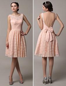 2020 румяна розовый короткие кружевные иллюзия Scoop обратно невесты платье с бантом