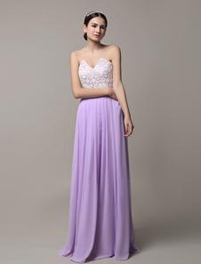 Сиреневый невесты платье из шифона без бретелек свадебное платье кружева Плиссированные длинное вечернее платье