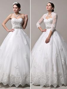 Vestido De Noiva Princesa 2020 Strapless Decote De Coração Vestido De Noiva Strass Frisado Cauda Até O Chão Vestido De Casamento Com Jaqueta De Manga Longa Milanoo