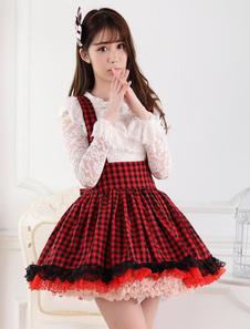 Percalle rosso nero Lolita gonna Salopette pizzo fodera
