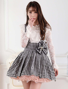 Vestido de Lolita branco preto saia Salopette laço forro Bow