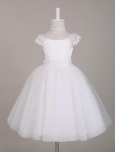 Vestido de florinha branca Vestido de decote de renda Vestido de tutu Vestido de festa do joelho do palácio Comprimento curto