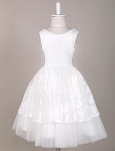 Vestido da menina de flor laço hierárquico sem mangas