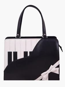 Черные фортепиано узор пу кожаный мешок Лолита