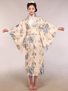 Costume Carnevale Costume per Feste Beige Giappone Broccato Kimono per donna
