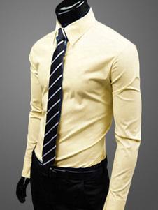 Хлопка Blend платье Shirtwith Отложной воротник длинным рукавом